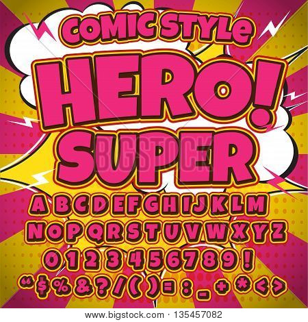 Alphabet collection set. Comic pop art style. Letters, numbers and figures for kids' illustrations, websites, comics