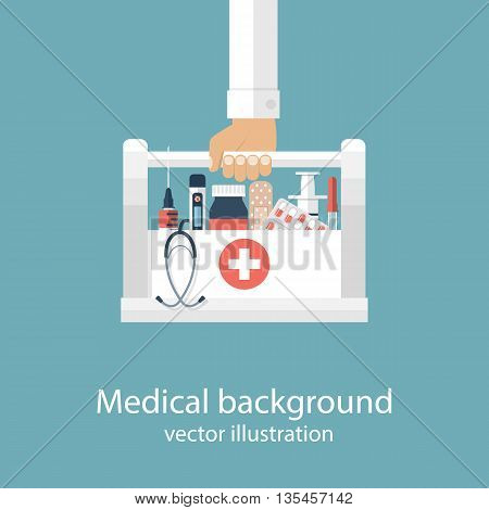 First aid kit in hands doctor. Medical background. Medical facilities with medicines and vaccinations. Vector illustration in flat design. Healthcare concept. Medical help. Emergency doctor.