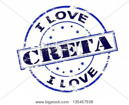 Rubber stamp with text i love Creta inside vector illustration