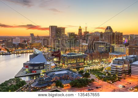 Baltimore, Maryland, USA downtown cityscape at dusk.