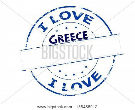 Rubber stamp with text i love Greece inside vector illustration
