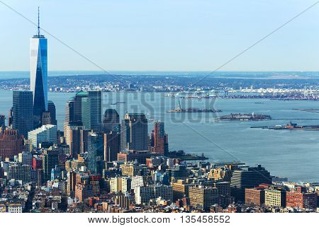 New York - April of 2015, USA: Aerial view of Manhattan skyline and One World Trade Center