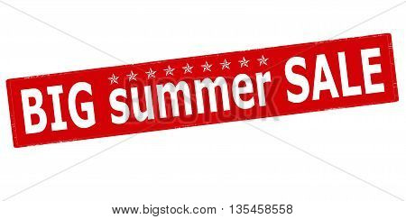 Rubber stamp with text big summer sale inside vector illustration