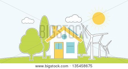 Natural energy. House alternative energy. environmental conservation concept. Banner eco energy. Vector illustration flat minimalistic design line style. Protection ecology innovative technology.