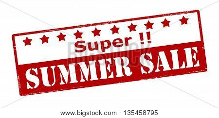 Rubber stamp with text super summer sale inside vector illustration
