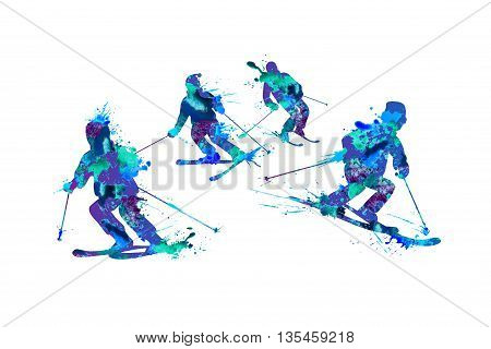 Mountain skiers family. Spray paint on a white background