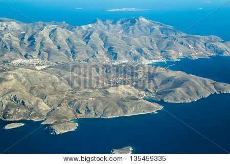 Aeral view of southwest part Greek Kalymnos island Dodecanese archipelago in Aegean sea