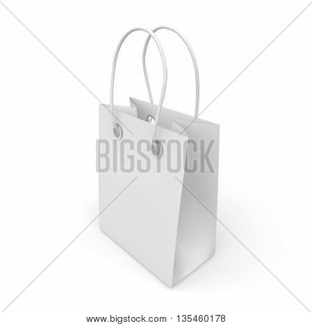 Blank White Package With Handles Small Size For Goods And Products