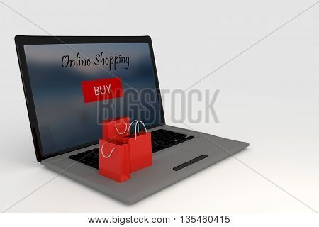 3d Rendering of Laptop and Shopping Bags. Online internet concept