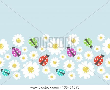 Seamless pattern vector border with flower, ladybug