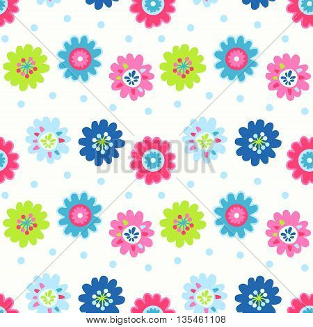 Cute seamless vector pattern with flowers and dots