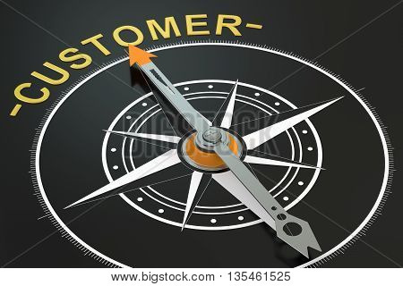Customer compass concept 3D rendering on black background