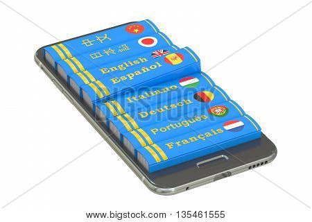 E-learning education or internet library concept. Languages Books in the smartphone 3D rendering isolated on white background