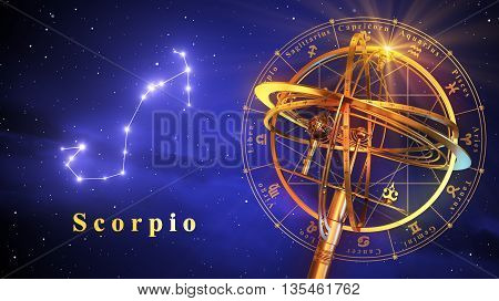 Armillary Sphere And Constellation Scorpio Over Blue Background. 3D Illustration.