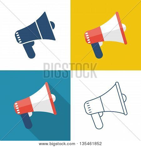 Icon megaphone. Vector illustration in the flat style design element for web and mobile applications. Set of four icons megaphone: pictogram flat with shadow and line