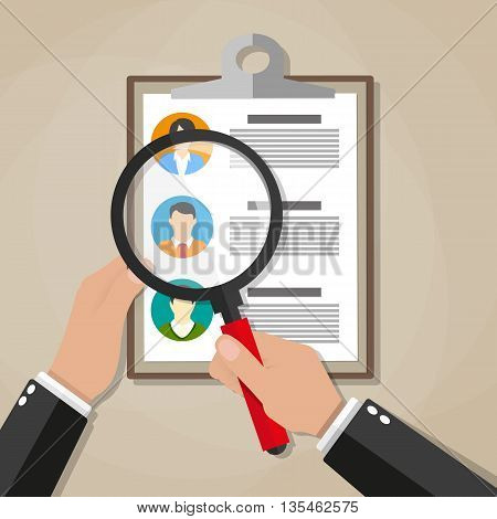 Human resources management concept, searching professional staff, work, hand with magnifying glass analyzing resume, documents papers. vector illustration in flat design on brown background