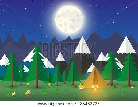 Summer Campsite with a campfire in night time, Forest, Mountains, Sky, stars, moon. travel and vacation concept, eco tourism. vector illustration in flat design