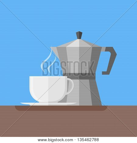 Italian coffee pot and coffee cup. Flat style vector illustration.