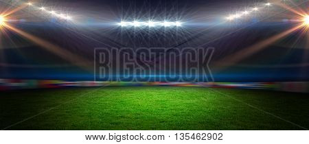 View of a rugby stadium with spotlights