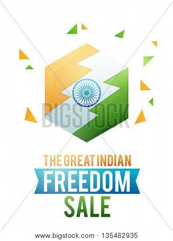 The Great Indian Freedom Sale, Stylish Sale Poster, Sale Banner, Sale Flyer, Sale Background with creative National Flag design for Independence Day celebration concept.