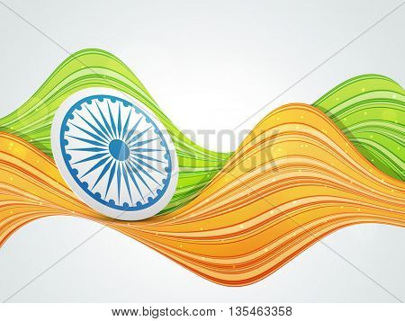 Glossy Ashoka Wheel on Saffron and Green Colour Waves, Concept for Indian Independence Day and Republic Day celebration.