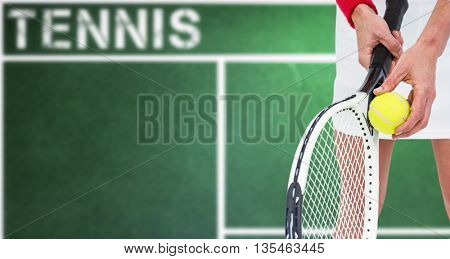Athlete holding a tennis racquet ready to serve against digital image of tennis field