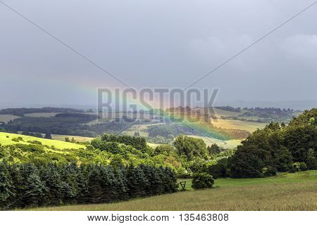 Rural Panorama Landscape With Rainbow