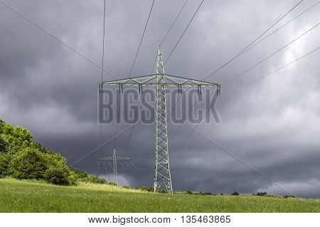 Power Lines With Storm Clouds