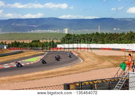 CZECH REPUBLIC, MOST, 25 JULY, 2015:Trainings of motorbikes on the race track.