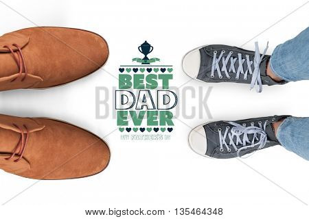 Casual shoes against fathers day greeting
