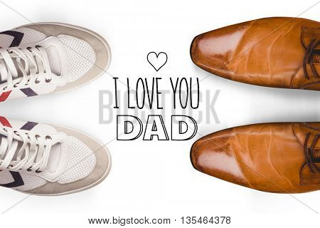 fathers day greeting against focus of brown dress shoes