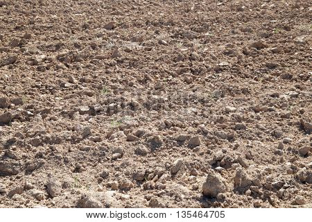 Texture of a plowed field, Zaragoza Province, Aragon, Spain.