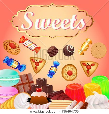 Background with sweet desserts, food, candy, donuts, marshmallow