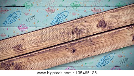 Wooden planks background against painted blue wooden planks