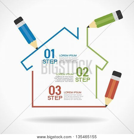 Design template with house, pencil, text. Vector illustration of property infographic banner background. flat design vector abstract house infographic elements. File is saved in 10 EPS version.