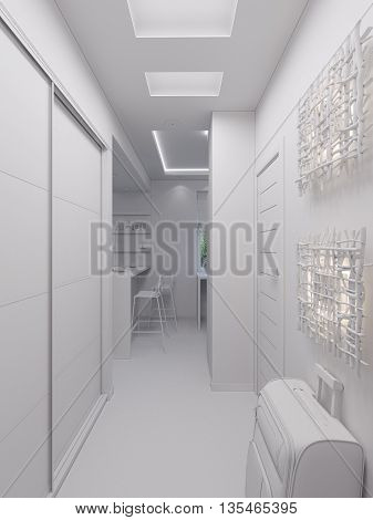 3D Rendering Hall Interior Design In A Modern Studio Apartment