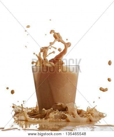 splash of chocolate in a glass isolated on white.
