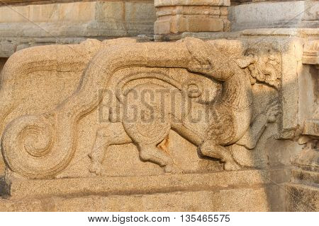 Sculpture On Hinduism Religious Temple. Part Of Hampi Ancient Civilization