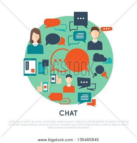 Chat decorative flat icons set with avatars clouds hands smartphones speech bubbles on turquoise circle vector illustration