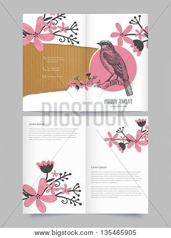 Glossy Two Page Brochure, Template or Flyer design decorated with beautiful flowers and bird.