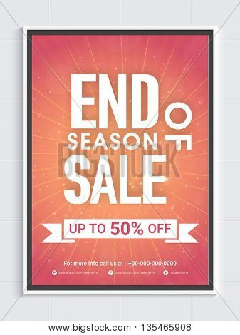 End of Season Sale Poster, Up to 50% Off, Creative vector illustration.