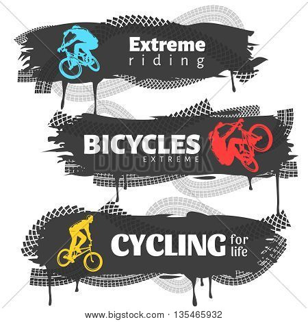 BMX horizontal banners set with colorful extreme riders cycling traces  inscriptions on black background isolated vector illustration