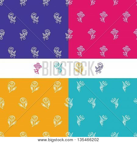 Vector set of seamless patterns in trendy mono line style - design elements for florists spa and cosmetics