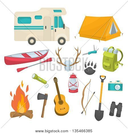 Camping decorative icons set with boat antlers tent backpack shovel house trailer guitar camera isolated vector illustration