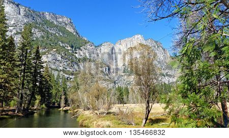 The Merced River in Yosemite Valley in Yosemite National Park in California, striking rocks