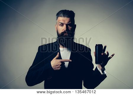 Bearded Man With Beer Tin Can