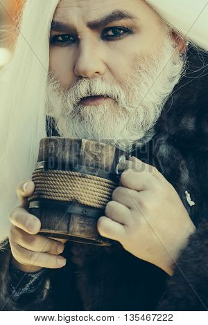 Old Druid With Wooden Mug