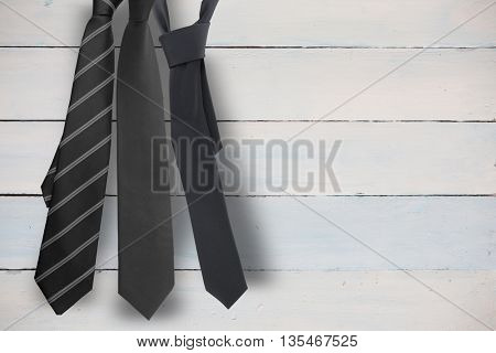 blue tie with diagonal line against painted blue wooden planks
