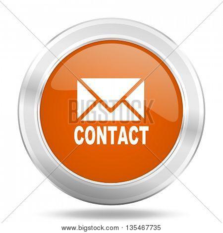 Metallic round orange glossy web email vector icon.