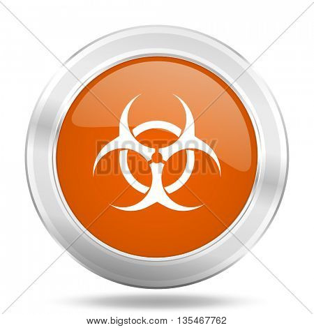 Metallic round orange glossy web biohazard vector icon.